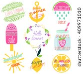 labels set with phrases about... | Shutterstock .eps vector #409971010