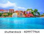 assos beach in kefalonia  greece | Shutterstock . vector #409977964