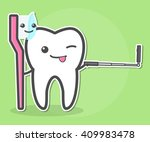 tooth and toothbrush makes... | Shutterstock .eps vector #409983478