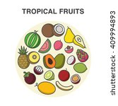 tropical fruits in a circle... | Shutterstock .eps vector #409994893