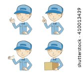 delivery man in blue uniform... | Shutterstock .eps vector #410013439
