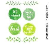 watercolor green logos set. ... | Shutterstock .eps vector #410014594