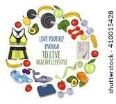 healthy lifestyle icons doodle... | Shutterstock .eps vector #410015428