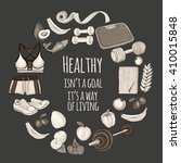 healthy lifestyle icons doodle... | Shutterstock .eps vector #410015848