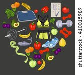 healthy lifestyle doodle icons | Shutterstock .eps vector #410015989
