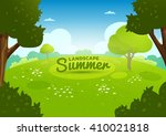 summer flat landscape. cartoon... | Shutterstock .eps vector #410021818