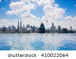 swimming pool on roof top with... | Shutterstock . vector #410022064