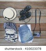 top view of female essentials... | Shutterstock . vector #410023378
