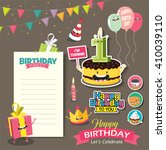 birthday anniversary with funny ... | Shutterstock .eps vector #410039110