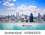 swimming pool on roof top with... | Shutterstock . vector #410063323