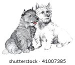 scotties Terriers dogs illustration on a white background - stock photo