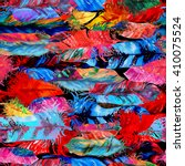 vibrant feather seamless... | Shutterstock . vector #410075524