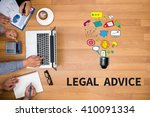 Small photo of LEGAL ADVICE (Legal Advice Compliance Consulation Expertise Help) Business team hands at work with financial reports and a laptop