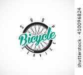 retro bicycle vector label or... | Shutterstock .eps vector #410096824