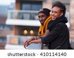 happy african american... | Shutterstock . vector #410114140