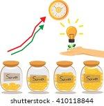save money and saving dollar... | Shutterstock .eps vector #410118844