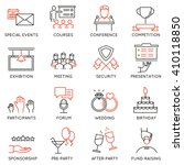 vector set of 16 thin icons... | Shutterstock .eps vector #410118850