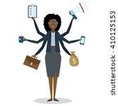 multitasking african american... | Shutterstock .eps vector #410125153