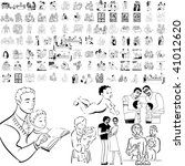 family set of black sketch.... | Shutterstock .eps vector #41012620