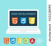 web development on laptop... | Shutterstock .eps vector #410128090