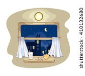 night tea party on the train.   ... | Shutterstock .eps vector #410132680