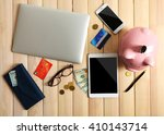 piggy bank with digital devices ... | Shutterstock . vector #410143714