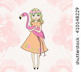 cute girl with flamingos.... | Shutterstock .eps vector #410148229