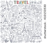 world travel set. hand drawn... | Shutterstock .eps vector #410153530