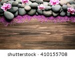 spa stones and orchid on wooden ... | Shutterstock . vector #410155708