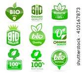 set of organic bio   green... | Shutterstock .eps vector #410167873