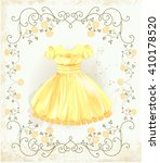 vintage label with yellow dress | Shutterstock .eps vector #410178520