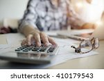 business woman working at the... | Shutterstock . vector #410179543