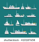 Ships Flat Set. Silhouettes Of...