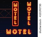 street sign of the motel. neon... | Shutterstock .eps vector #410190730