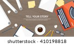 workplace with typewriter. flat ...   Shutterstock .eps vector #410198818