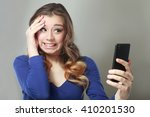closeup portrait anxious scared ... | Shutterstock . vector #410201530