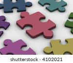 puzzle. 3d   Shutterstock . vector #4102021