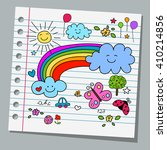 notebook paper happy summer day | Shutterstock .eps vector #410214856