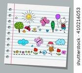 notebook paper happy summer day | Shutterstock .eps vector #410216053