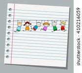 notebook paper happy kids... | Shutterstock .eps vector #410216059