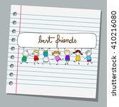 notebook paper happy kids...   Shutterstock .eps vector #410216080