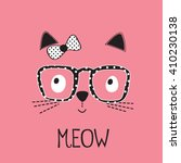 Cute Cat  With Glasses  T Shir...