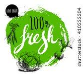 farmer 100  fresh veggies...   Shutterstock .eps vector #410233204