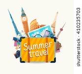 summer travel illustration with ... | Shutterstock .eps vector #410235703