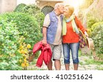 happy playful senior couple in... | Shutterstock . vector #410251624