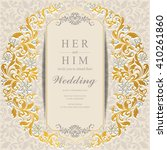 wedding invitation or card with ... | Shutterstock .eps vector #410261860