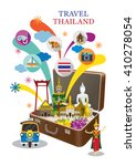 suitcase with thailand landmark ... | Shutterstock .eps vector #410278054