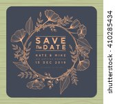 Save the date, wedding invitation card with wreath flower template. Flower floral background. Vector illustration. | Shutterstock vector #410285434