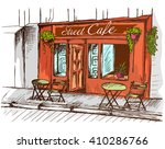 street cafe without people in... | Shutterstock .eps vector #410286766