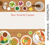 thai food and ingredients frame ... | Shutterstock .eps vector #410296294